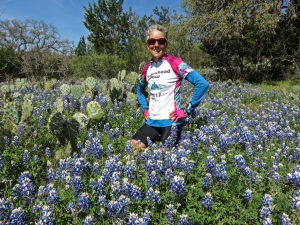 Molly w Texas bluebonnets Willow City Loop