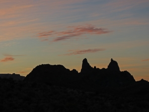 Sunrise behind the Mule Ears