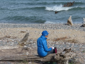 Crisp Point beach writing