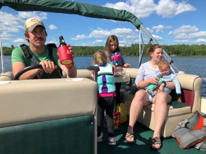 Carl Chelsea and kids on pontoon