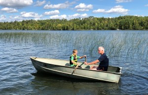 Grandpa teaches Ben to row