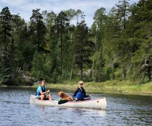 Erik Katie paddling Sawbill Lake