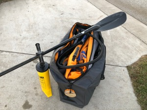 Kayak folded in case