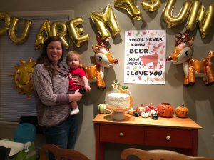 Chelsea and Crosby with birthday decorations