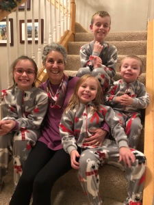 Kennedy kids with Grammy in Jammies