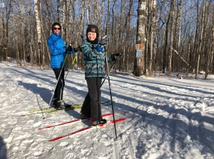 Molly and Ben skiing